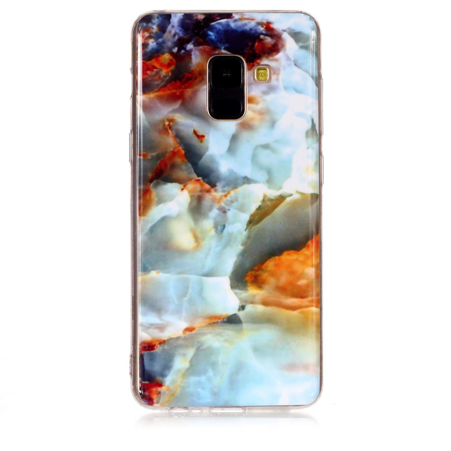 for Samsung Galaxy A6 2018 Marble Case with Screen Protector,Unique Pattern Design Skin Ultra Thin Slim Fit Soft Gel Silicone Case,QFFUN Shockproof Anti-Scratch Protective Back Cover - Fire Cloud by QFFUN (Image #2)