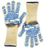 [Revolutionary EN407 Standard] Gulife® oven glove withstands heat up to 662F over 15S - EN407 Standard level3 (Threshold time: 13.5S of 932°F, 17.5s of 662°F)- elaborate Top Class BBQ glove- Gift box packaging(2 extra-long gloves included)