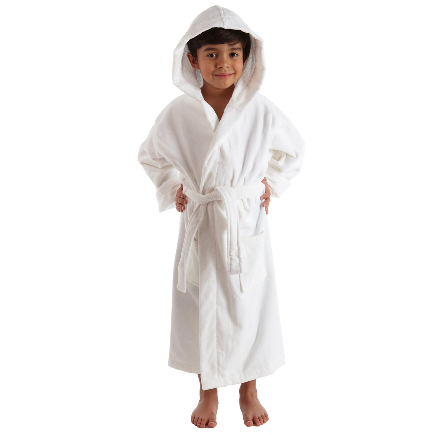 TurkishTowels Terry Velour Hooded Kids Beach or Pool Cover-Up