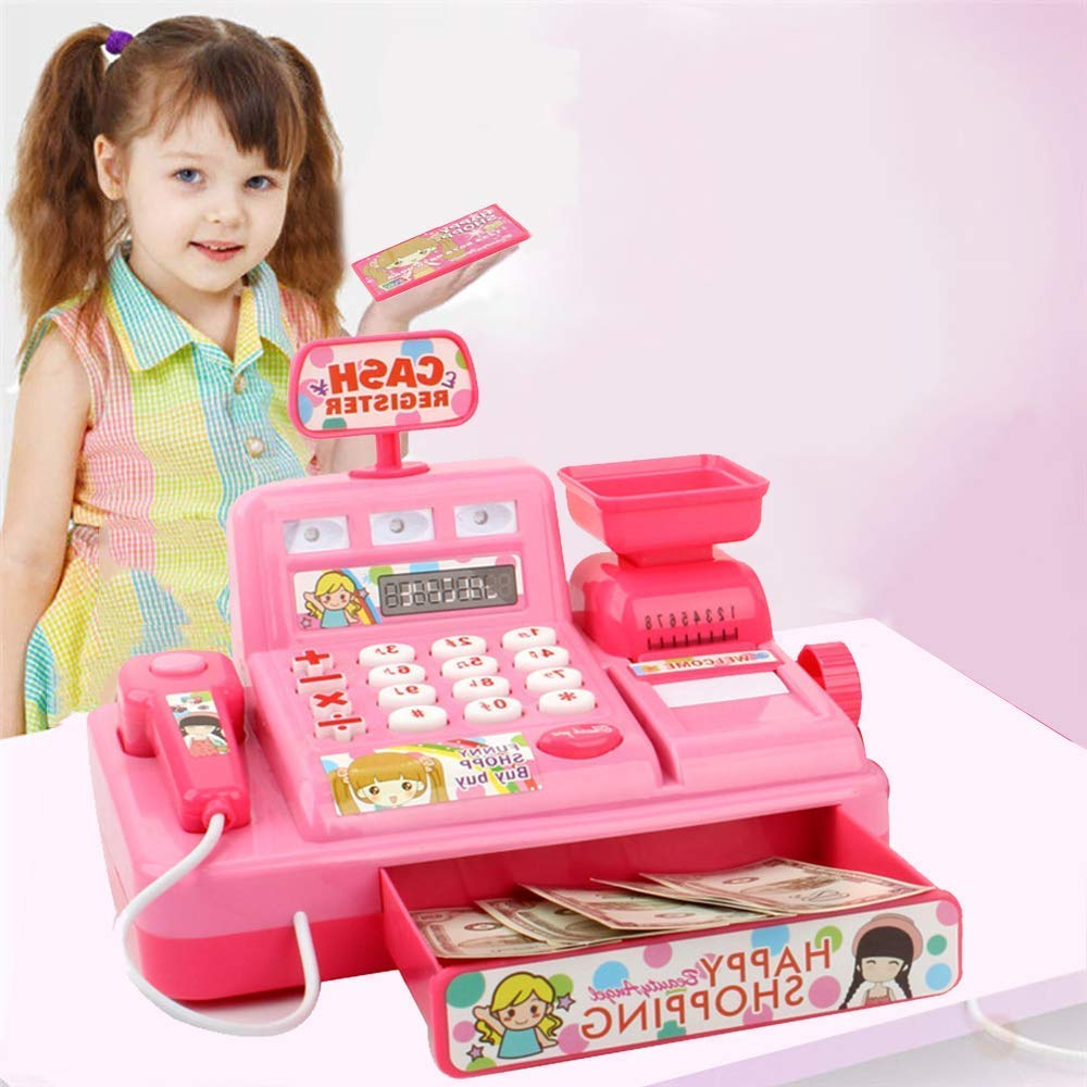 Angoo Pretend Play Cash Register with Scanner, Scale, Play Money, Credit Card Reader and Groceries for Kids,Early Childhood Education Music Toy (Pink) by Angoo