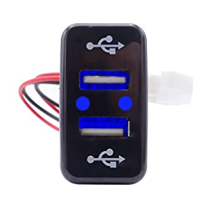 Dual USB Power Socket Charger LED Power Outlet 2.1A Blue LED Light for Toyota Tacoma Tundra 4Runner