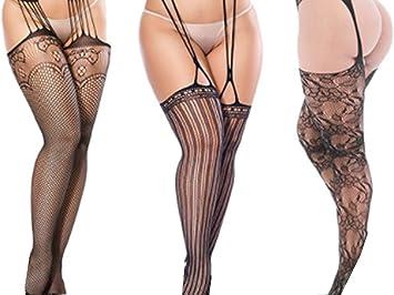 Hnjzx Medias De Encaje De Rejilla De Liga Sexy Transparentes Para Mujer De Talla Grande Paquete De 3 B Amazon Es Deportes Y Aire Libre