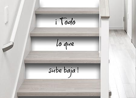 Plage Vinilos para Escaleras-Todo Lo Que Sube Baja, Blanco y Negro, 19x3x100 cm, 3 Unidades: Amazon.es: Hogar