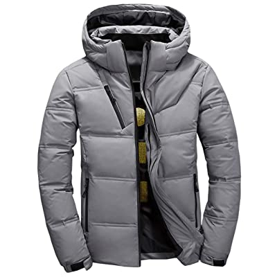 chouyatou Men's Winter Quilted Removable Hooded Alternative Down Jacket Coat: Clothing