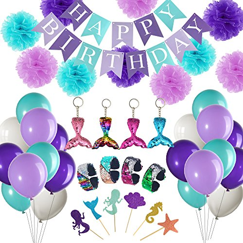 FEPITO 92 Pcs Mermaid Theme Birthday Party Supplies Under The Sea Party Decorations Including Mermaid Birthday Banner Garland Balloons Cupcake Toppers Mermaid Tails Bracelets for Kids Little Girl -