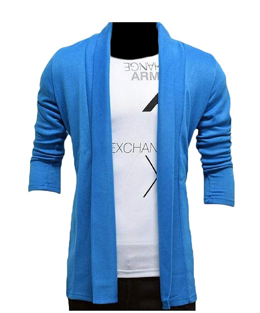 YUNY Men Maxi Oversized Knitting Long Open Front Lapel Cardigan Sweater