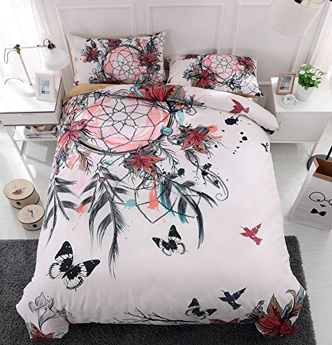 Youareking Dreamcatcher and Butterflies Quilt Duvet Cover Set with 2 Shams,Indian Style Ultra Soft Bedding Cover Set (Butterfly Dreamcatcher)