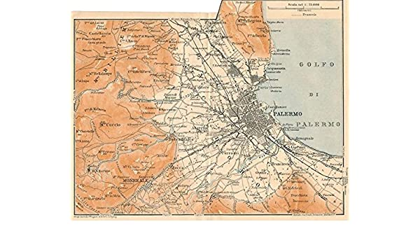 Amazon Com Palermo Environs City Plan 1908 Detailed Antique Italy