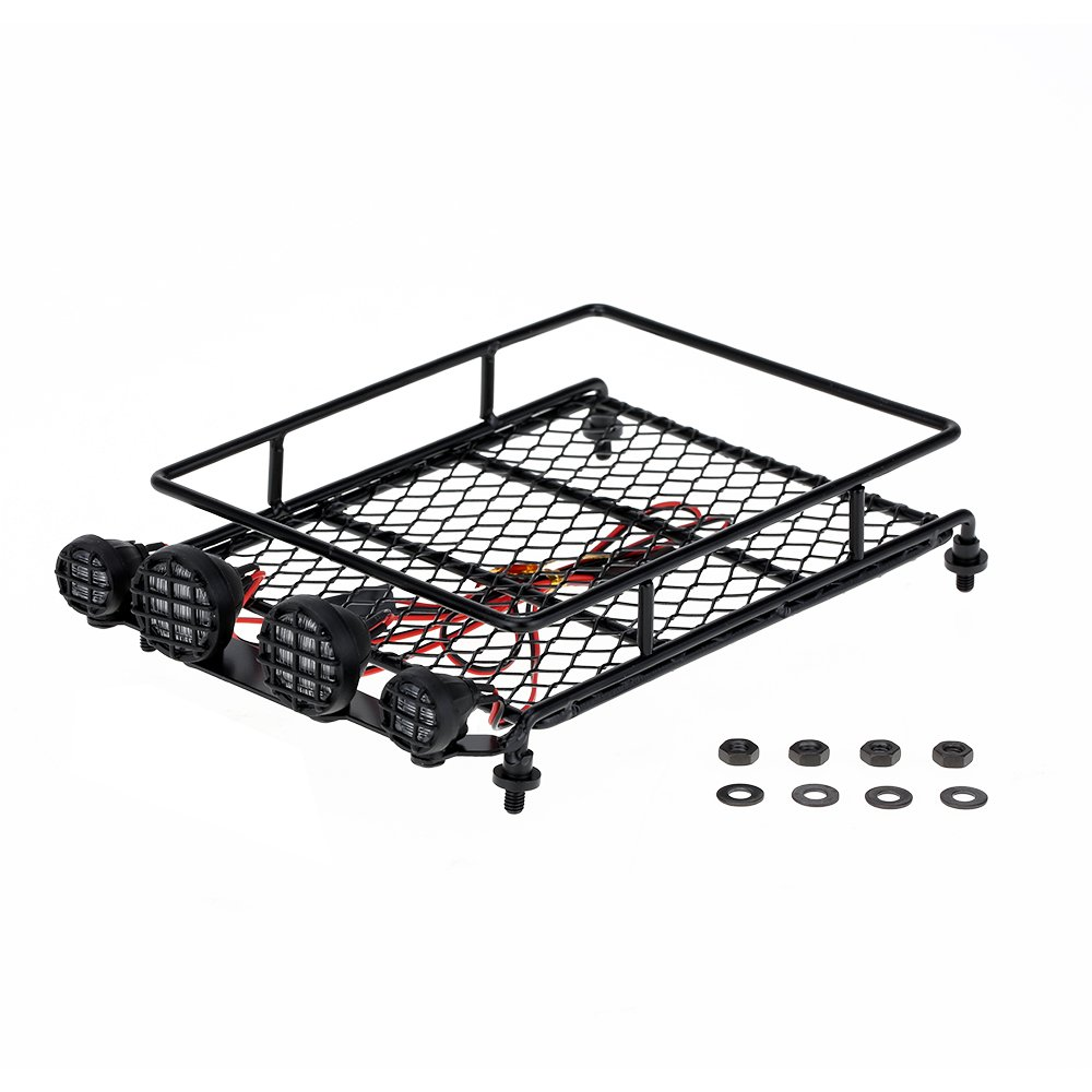 Amazon.com: GoolRC Austar Roof Luggage Rack With LED Light Bar For 1/10 1/8  RC Cars Rock Crawler Rally 4WD CC01 CR01 D90 AXIAL SCX10: Toys U0026 Games
