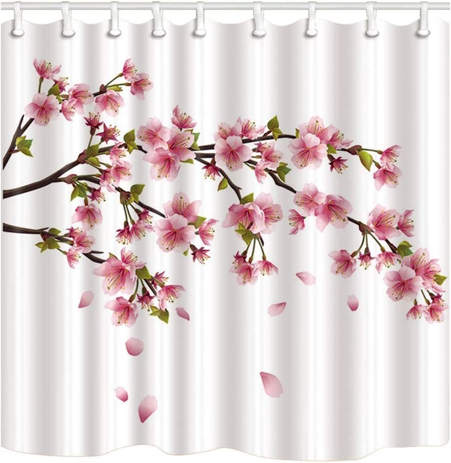 Shocur Cherry Blossom Shower Curtain, Pretty Japanese Pink Floral Scenery, 69 x 70 Inches Spring Nature Theme Bath Curtain, Polyester Fabric Bathroom Decor Set with 12 Hooks