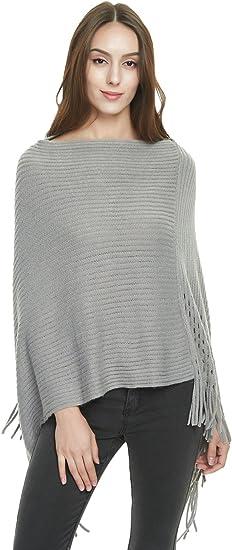 Knit Sequin Poncho Cape Wrap One Size Fits Most Khaki Color