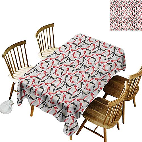 DONEECKL Red and Black Colorful Tablecloth Protection Table Women Fashion Pattern with High Heel Stiletto Shoes Ladies Footwear Scarlet Black Beige W52 xL70