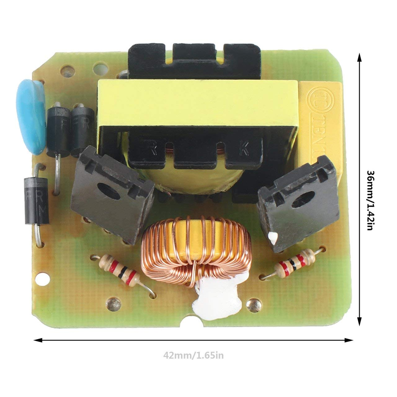 Jasnyfall Vert et Jaune et Noir DC-AC//DC Onduleur 12V /à 220V Boost Module dalimentation renforc/ée Module de Conversion Inverse 40W Double Canal Mod/èle Unique