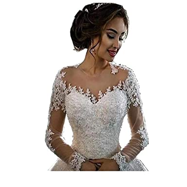 b0a215f3cf66 Chady Lace Princess Wedding Dress Ball Gowns 2018 Sexy Sheer Long Sleeves  Boat Neck Sequins Beaded