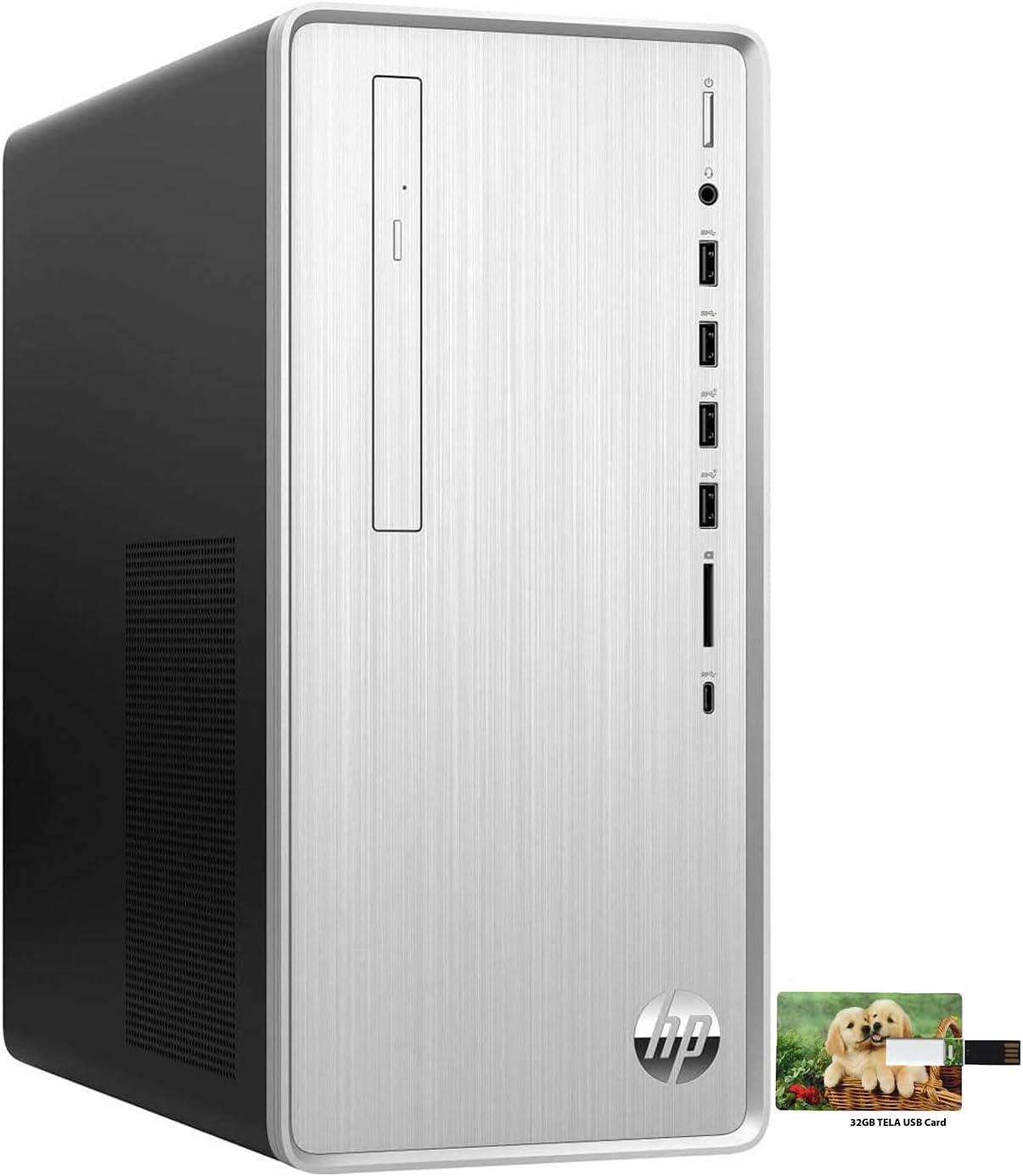 Hp Newest Pavilion Business Desktop, AMD Ryzen 5 4600G Processor, AMD Radeon Graphics, 16GB RAM, 512GB SSD+1TB HDD, Wireless-AC, DVD-RW, Type-C, HDMI, VGA, Windows 10 Pro, 32GB Tela USB Card