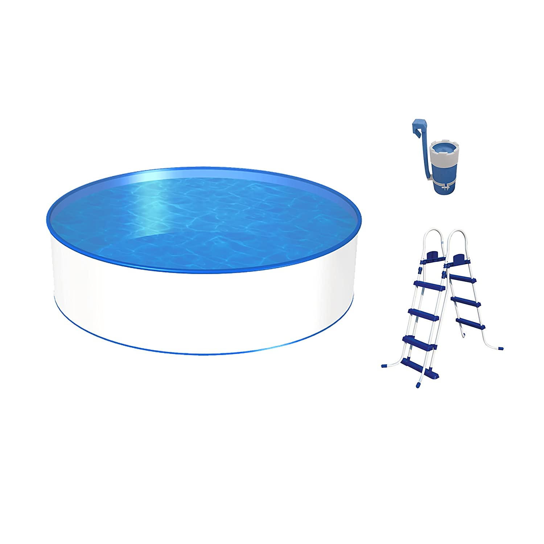 Piscina con tamaño y profundidad a elegir, con pared de acero de 0, 3 mm, lámina impermeabilizante de color azul, escalera de seguridad resistente y ...