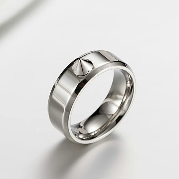 Bishilin Stainless Steel Rings for Him Rivets Round Wedding Rings Size 7