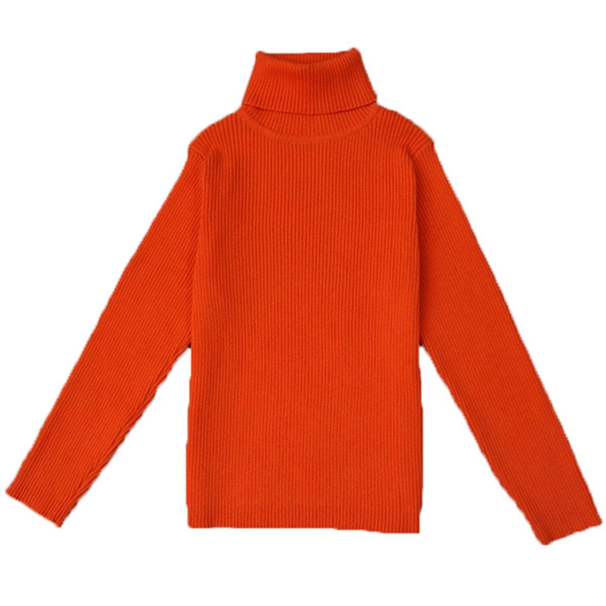 JELEUON Little Kids Girls Long Sleeve Sweater Sweaters High Neck Ruflle Fine Knit Sweatshirt Pullover
