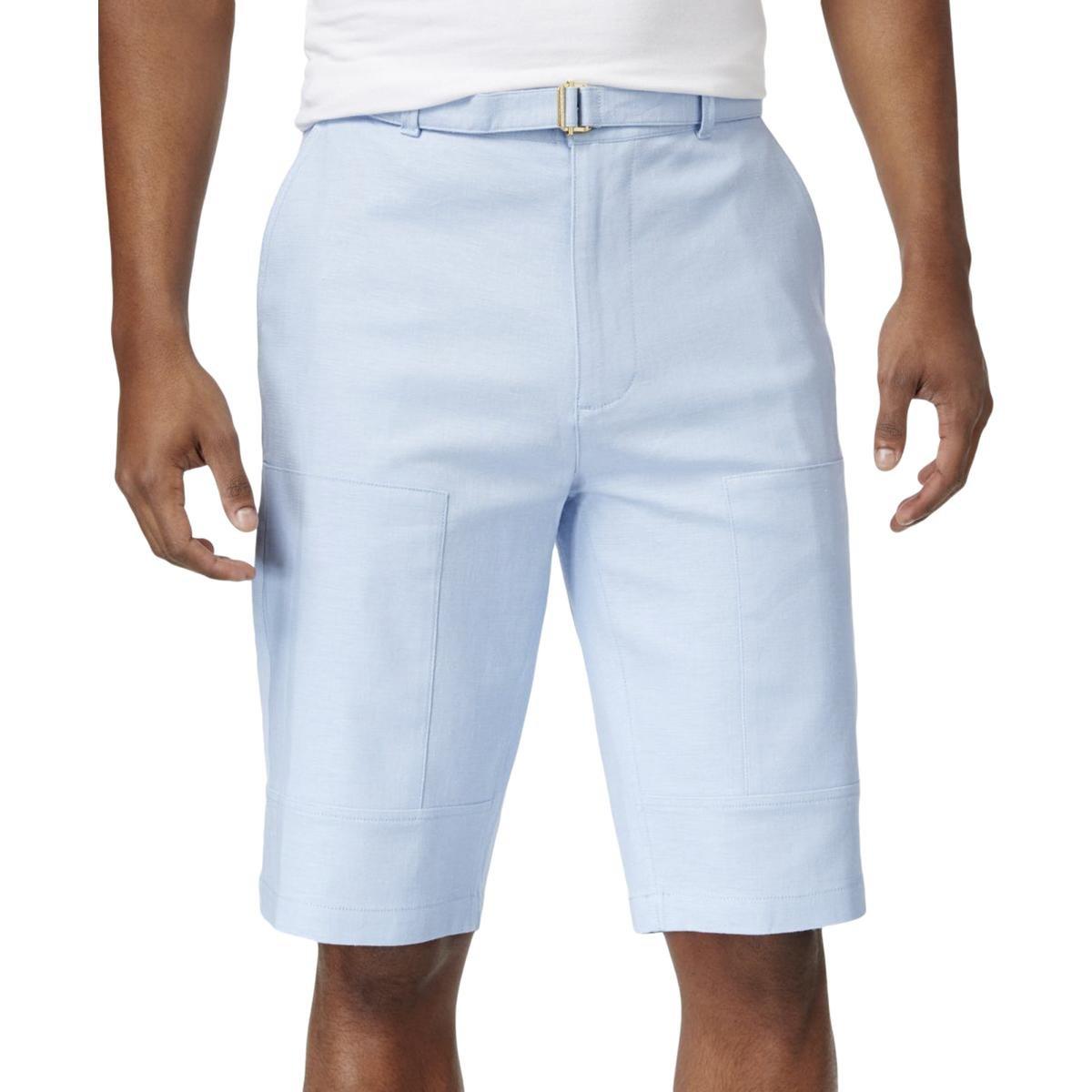 Sean John Mens Linen Flight Casual Shorts Blue 36