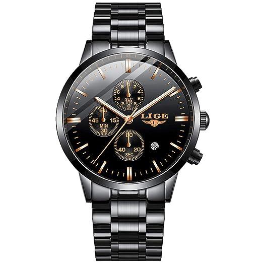 Hombres Relojes,LIGE Acero Inoxidable Resistente al Agua Deportivo Analógico de Cuarzo Relojes Cronógrafo Calendario Moda Casual Lujo Relojes de Pulsera ...