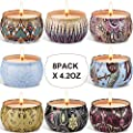 Arosky 8 x 4.2 Oz Scented Candles Gift Set, Natural Aromatherapy Soy Wax Candle in Portable Travel Tin for Women, Weddings, Birthdays, Mother's Day, Halloween, Thanksgiving, Christmas Decorations