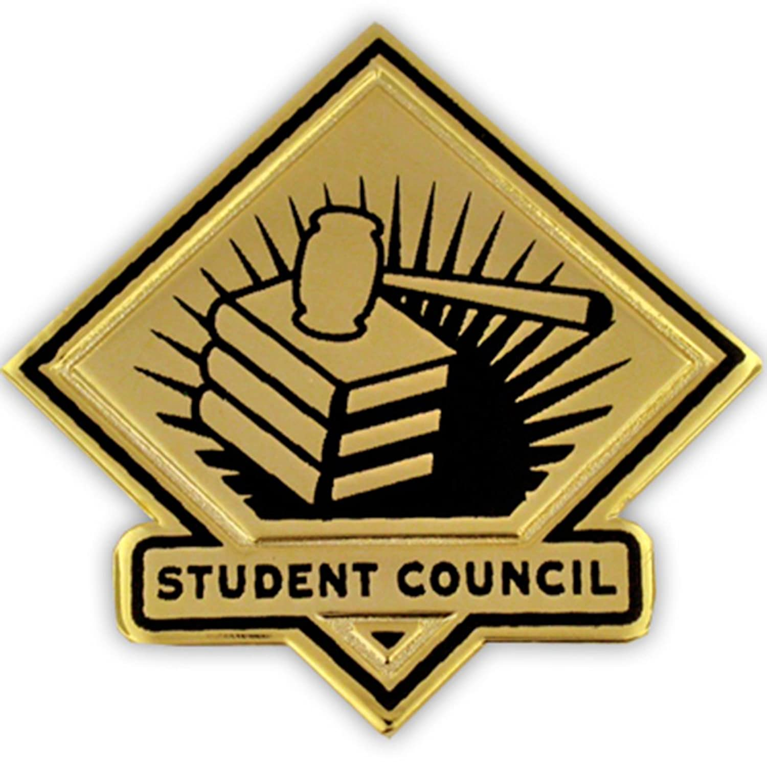 hot PinMart's Black and Gold Student Council School Teacher Lapel Pin get discount
