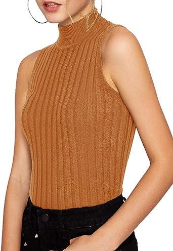 Greetuny 1pcs Suéter Camisetas Mujer Sin Mangas Moda Tank Tops Elegante Cuello Alto Blusa Mujer Hombros Descubiertos (Amarillo): Amazon.es: Ropa y accesorios