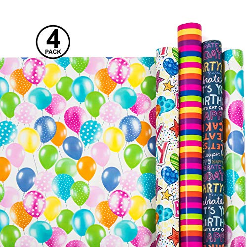 Birthday Wrapping Paper - Gift Wrapping Paper - Premium Quality Gift Wrap Paper - 2.5 FT x 10 FT Per Roll, Includes 7 Bows and 2 Ribbons