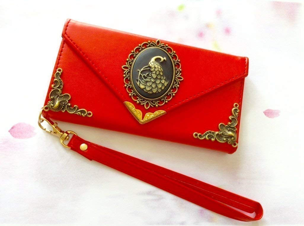 Peacock Envelope Leather Wallet Handmade Phone Wallet Case Cover ...