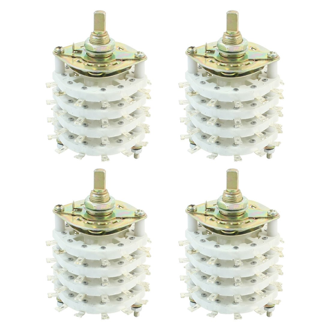 uxcell 4PCS Band Channael Rotary Switch 4P11T 4 Pole 11 Position Four Decks