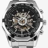 Lowpricenice Cool watches For Men Skeleton Mens Black Automatic Mechanical Sport Wrist Watch Stainless Steel Band