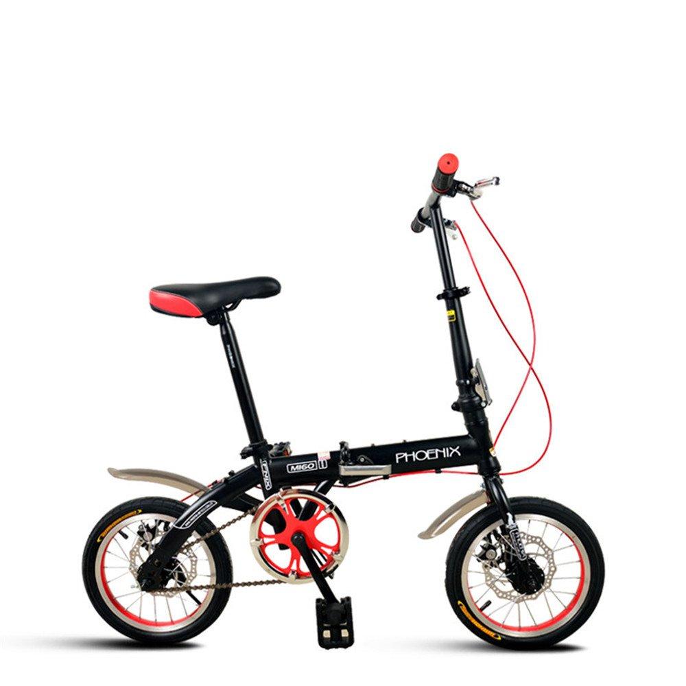 折りたたみ自転車 折り畳み 14インチ 単速 6段変速 通学 アウトドア 通勤や街乗りに最適 小径自転車 YA811 B078M8XW93 14インチ|ブラック(単速) ブラック(単速) 14インチ