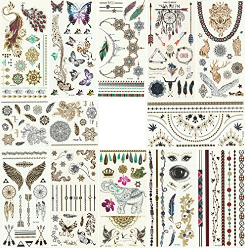 - Foxjoy Metallic Temporary Tattoos, 12 Sheets, 200 Designs