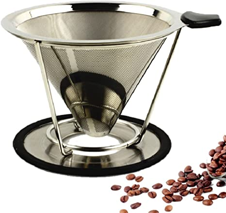 Sivaphe 08-ZB5W-5A3D Steel Natural Color 2 Cup Paperless Coffee Maker Filter Stainless Steel Premium Pour Over Paperless Drip Cone Double-layer
