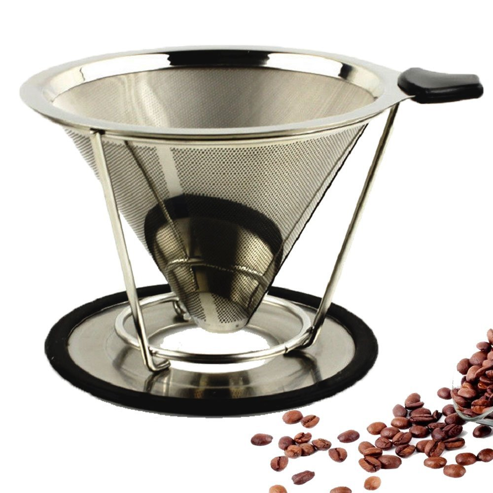 Paperless Coffee Maker Filter Stainless Steel Premium Pour Over Paperless Drip Cone Double-layer (Steel Natural Color 2 Cup) Sivaphe 08-ZB5W-5A3D