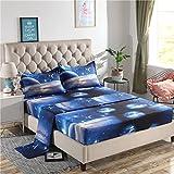 Juwenin Home,Galaxy 3D Printing Bed Sheet Bedding Set, 100% Soft Microfiber Fitted Sheet (XK010, Queen)