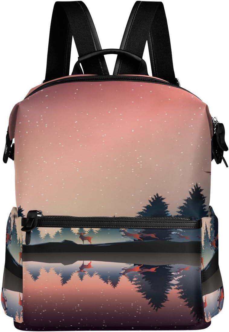 Laptop Backpack Lightweight Waterproof Travel Backpack Double Zipper Design with Beautiful Lake Landscape School Bag Laptop Bookbag Daypack for Women Kids