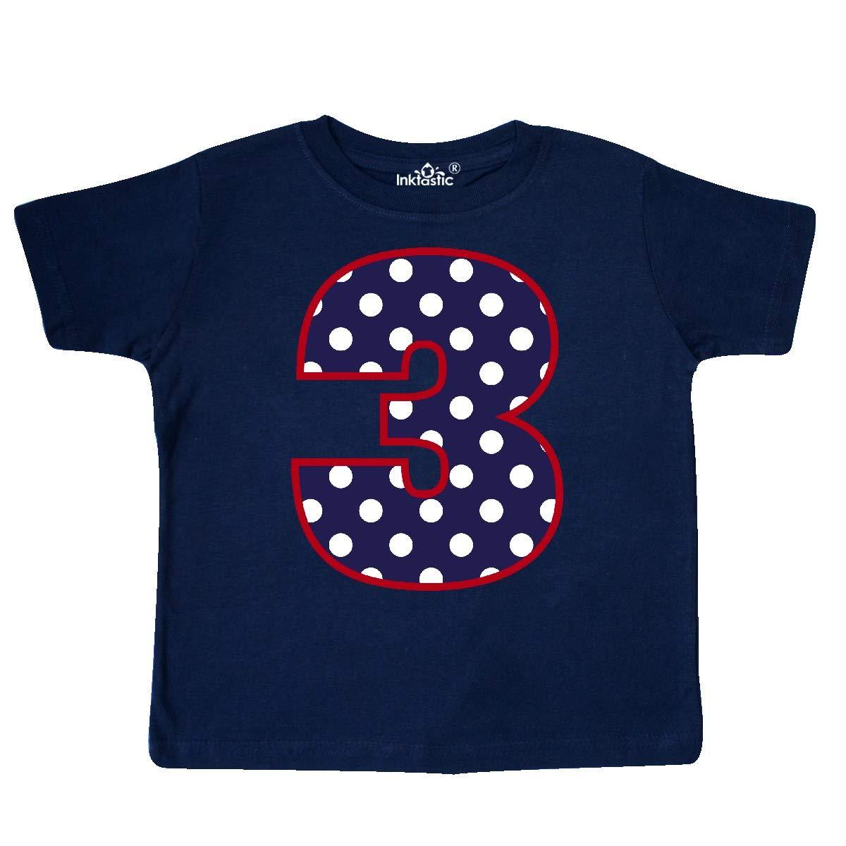 inktastic 3rd Birthday Polka Dot 3 Year Old Toddler T-Shirt