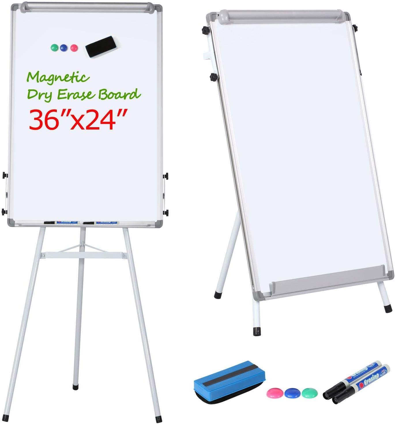 Yaheetech Portable Tripod Whiteboard Dry Erase Board Height Adjustable Magnetic White Board Flipchart Easel