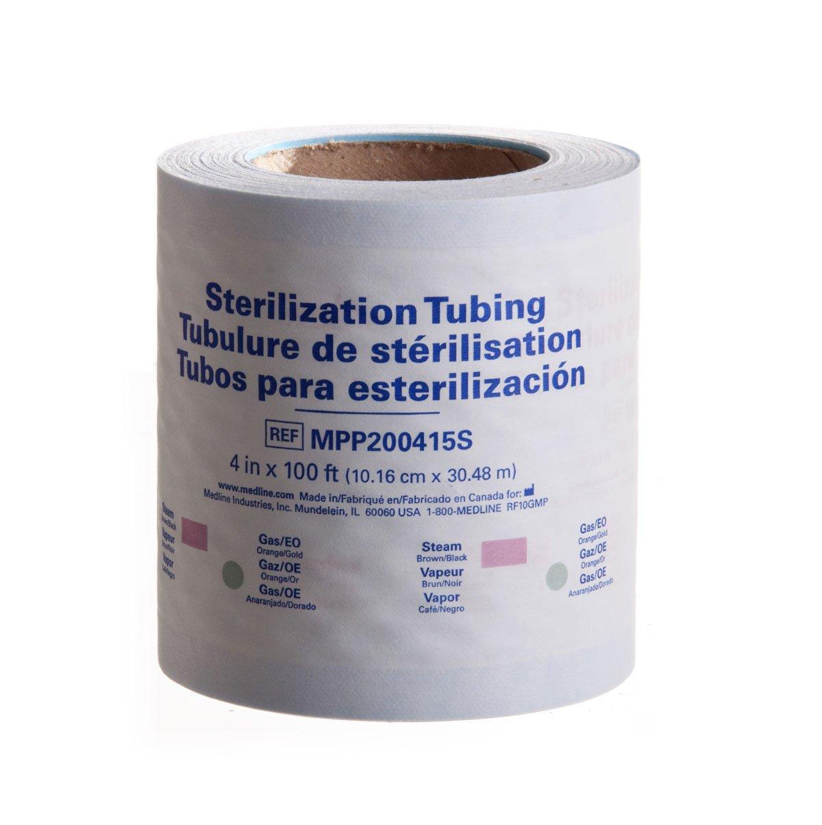 Medline MPP200415S Instrument Sterilization Tubing/Roll, 4'' x 100' (Pack of 16)