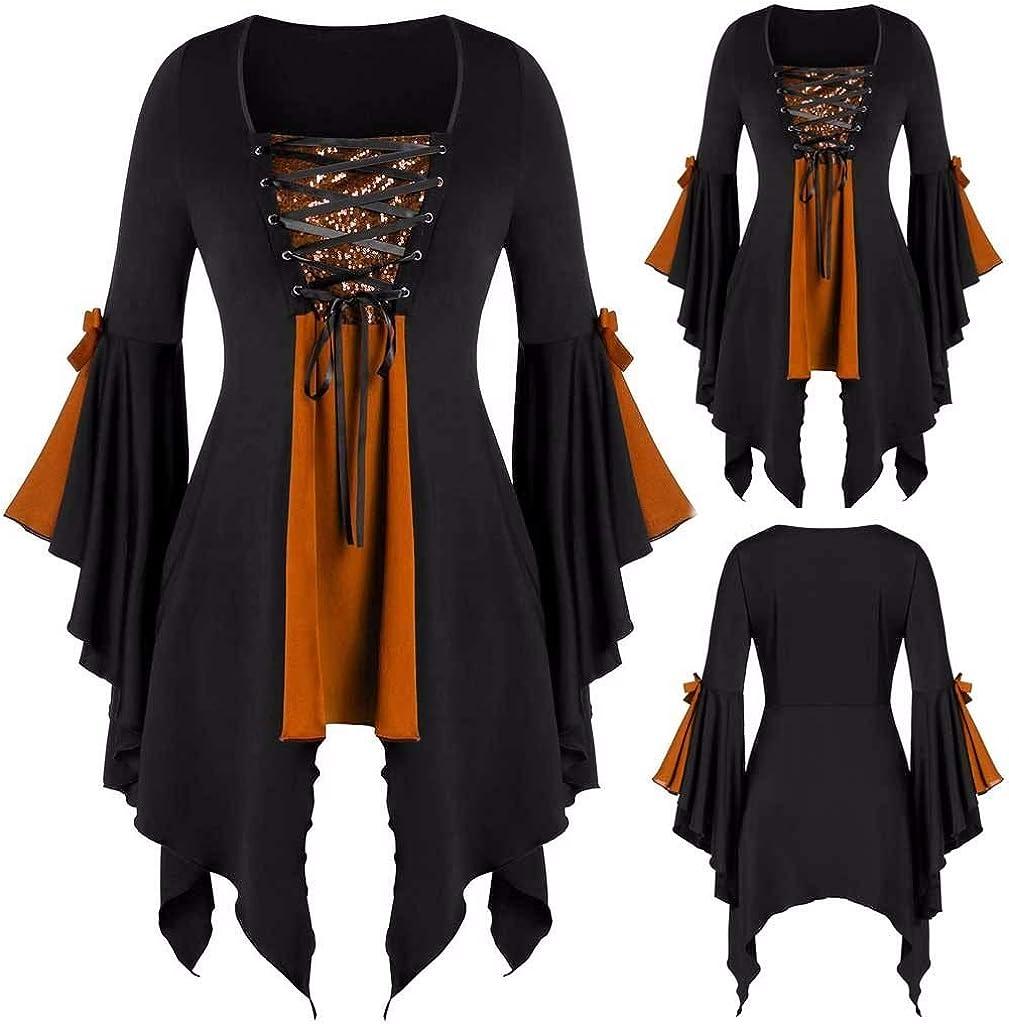 Women Plus Size Long Sleeve Tops Blouse Lace Up Punk Gothic Vintage Tunic Shirts