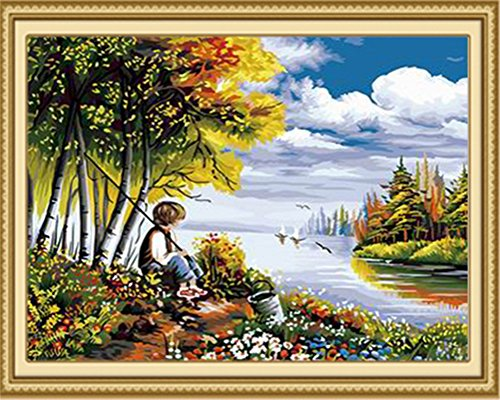 Diy Oil Painting Paint by Number Kit for Adults Beginner 16x20 inch - Little Boy Fishing, Drawing with Brushes Christmas Decor Decorations Gifts