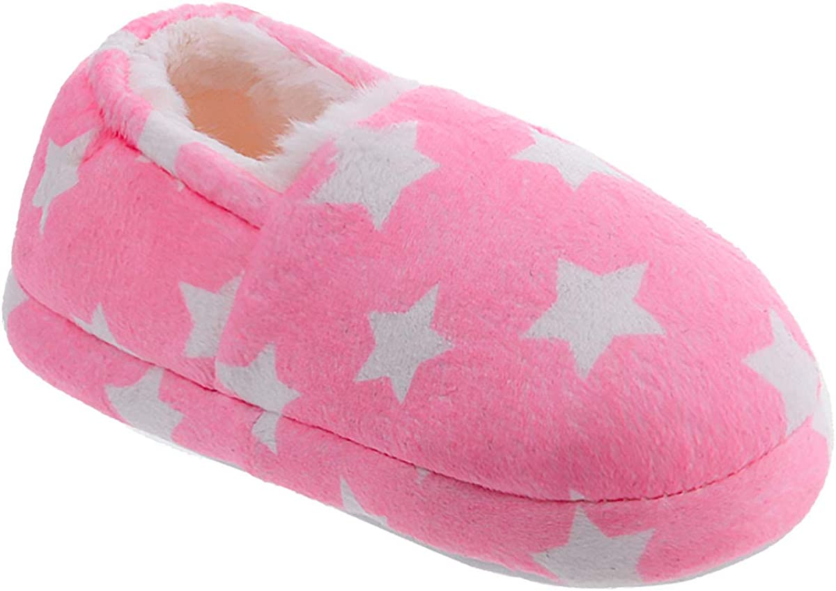 festooning Toddle//Little Kids Slippers Comfy Fur Lining House Slipper Toddler Warm Cute Home Shoes Memory Foam Anti-Slip Indoor Outdoor