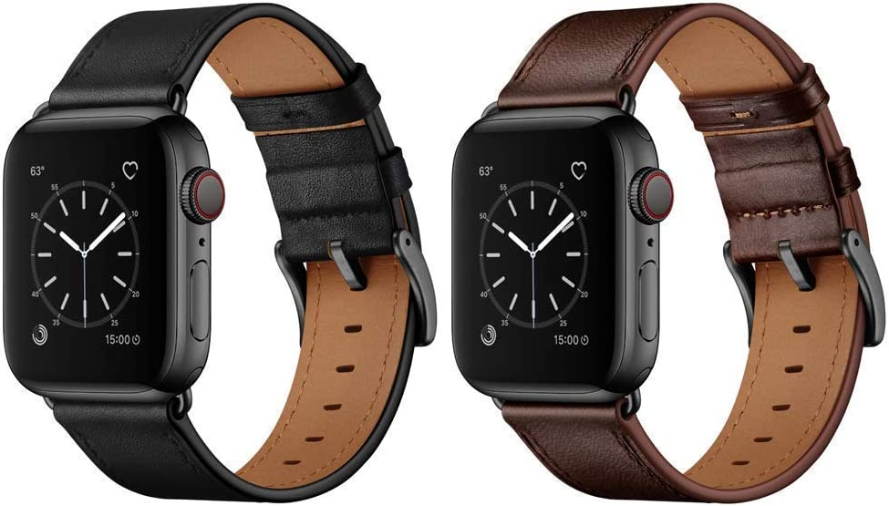 OUHENG Compatible with Apple Watch Band Genuine Leather Replacement Strap 42mm 44mm Black & Dark Brown