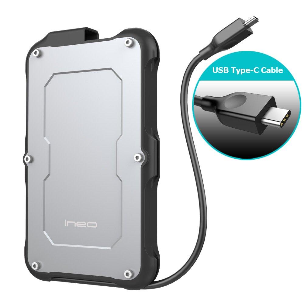 ineo 2.5'' USB 3.1 Gen2 Type C Rugged Waterproof & Shockproof External Hard Drive Enclosure (USB 3.1 Gen 2 Type C) [C2580c]
