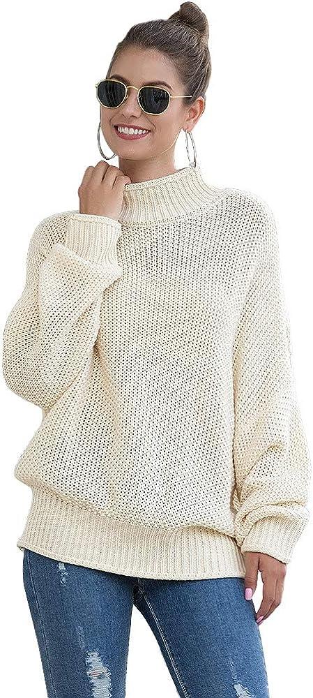 PP PLUIE POURPRE Women Knit Turtleneck Sweater Oversized Long Sleeve Tops Pullover Sweaters