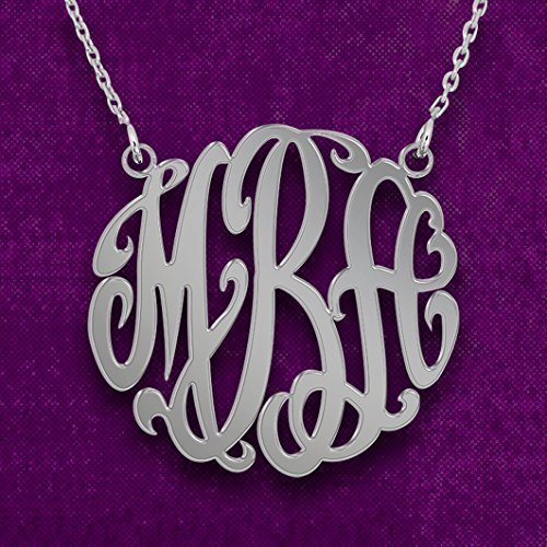 Personalized Monogram Necklace in Sterling Silver - Monogram Necklace - Initials Necklace - Monogram Necklace Personalized Jewelry -