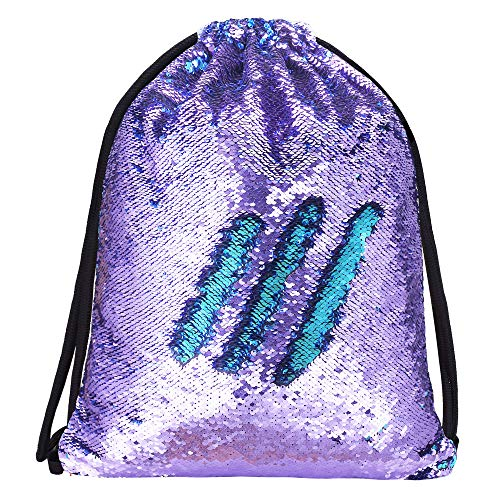 - Alritz Mermaid Sequin Drawstring Bags, Reversible Sequin Gym Dance Backpacks Magic Glittering School Shoulder Bags Gift for Girls Kids Daughter Boy Women (Purple/Blue)