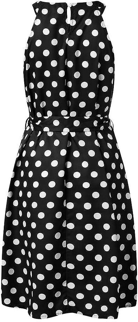 RTYou Dress for Womens A-Line Mini Skirts Fashion Polka Dot Sleeveless Dresses Off Shoulder Casual Loose Dress with Belt