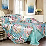 Inkjet Silk Four Set Of Duvet Cover Four Sets Of Silk(1Quilt cover 1 Bed sheets 2pillowslip)-F King